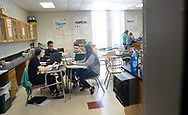 From left, Dawn Heimbach, 15, Kesean Kennedy, 15, Giovanni Maldonado,16 and Alena Garza work on their laptops during science class Friday, March 17, 2017 at Upper Perkiomen High School in Pennsburg, Pennsylvania. (WILLIAM THOMAS CAIN / For The Philadelphia Inquirer)