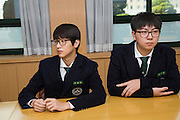 The students Young hwan Kim and Kiwon Song. Shinil High School, Seoul, South Korea.