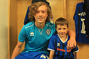 15 Year old Luke Matheson with The 6 year old Rochdale mascot pre-match - community -  during the EFL Sky Bet League 1 match between Rochdale and Gillingham at Spotland, Rochdale, England on 15 September 2018.