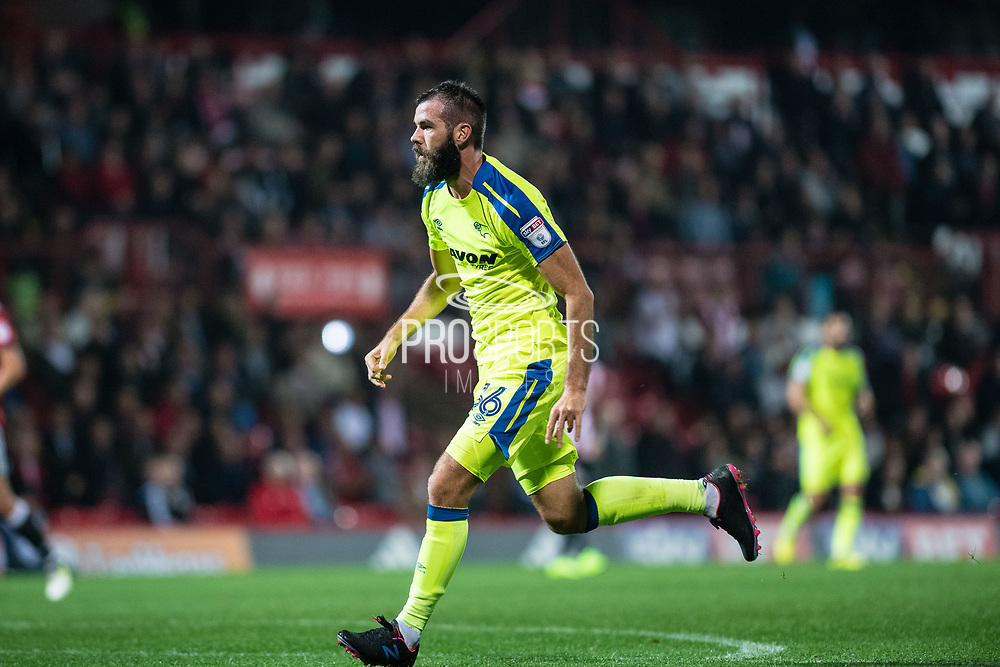 Derby County (36) Joe Ledley  during the EFL Sky Bet Championship match between Brentford and Derby County at Griffin Park, London, England on 26 September 2017. Photo by Sebastian Frej.