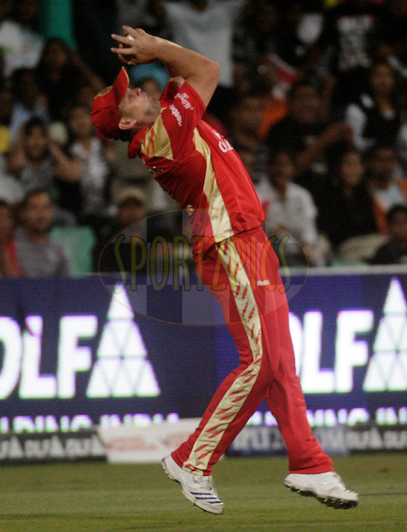 DURBAN, SOUTH AFRICA - 1 May 2009. Jacques Kallis takes a catch during the IPL Season 2 match between Kings X1 Punjab and the Royal Challengers Bangalore held at Sahara Stadium Kingsmead, Durban, South Africa..