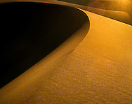 Backlit Sand Dune And Perfect Wind Sculpted Ridge, Death Valley National Park, California