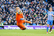 Brighton and Hove Albion goalkeeper Niki Maenpaa (12) saves during the The FA Cup match between Brighton and Hove Albion and Coventry City at the American Express Community Stadium, Brighton and Hove, England on 17 February 2018. Picture by Phil Duncan.