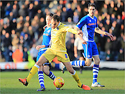 Ed Upson, Joe Bunney during the Sky Bet League 1 match between Rochdale and Millwall at Spotland, Rochdale, England on 13 February 2016. Photo by Daniel Youngs.