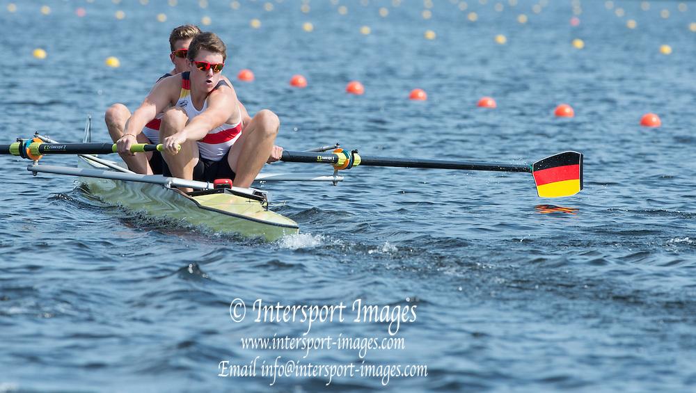Hamburg. GERMANY. GER JM2-. Wed afternoon heats at the 2014FISA Junior World rowing. Championships.  15:14:04  Wednesday  06/08/2014  [Mandatory Credit; Peter Spurrier/Intersport-images] 2014. Empacher. Hamburg.