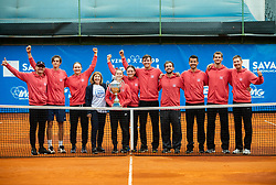 Players of Team East celebrate after winning during Day 3 of tennis tournament Mima Jausovec cup where compete best Slovenian tennis players of the East and West, on June 8, 2020 in RCU Lukovica, Slovenia. Photo by Vid Ponikvar / Sportida