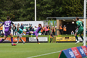 Forest Green Rovers Carl Winchester(7) heads the ball scores a goal 1-0 during the EFL Sky Bet League 2 match between Forest Green Rovers and Port Vale at the New Lawn, Forest Green, United Kingdom on 8 September 2018.