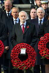 Labour leader Jeremy Corbyn and Former Prime Ministers Tony Blair and John Major during the annual Remembrance Sunday Service at the Cenotaph memorial in Whitehall, central London, held in tribute for members of the armed forces who have died in major conflicts. Picture date: Sunday November 13th, 2016. Photo credit should read: Matt Crossick/ EMPICS Entertainment.