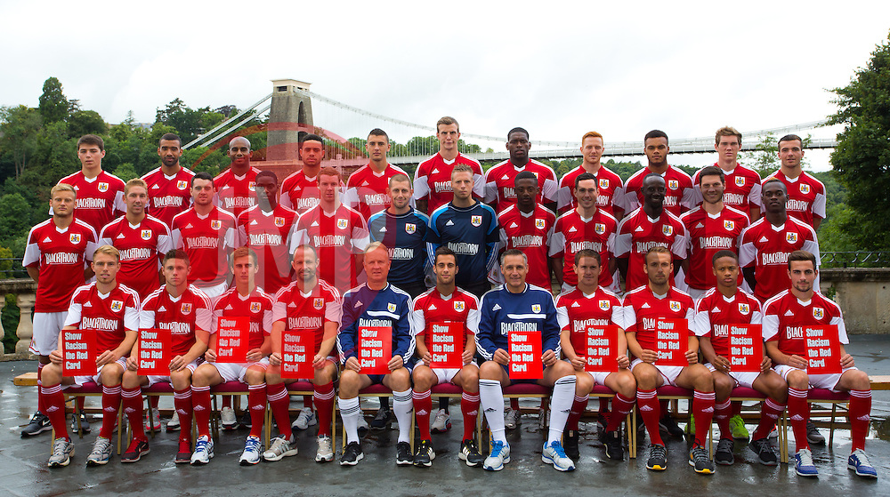 Bristol City line up for their team photo as defender Aden Flint pulls a face in the back row - Photo mandatory by-line: Kieran McManus/JMP - Tel: Mobile: 07966 386802 31/07/2013 - SPORT - FOOTBALL - Avon Gorge Hotel - Clifton Suspension bridge - Bristol -  Team Photo