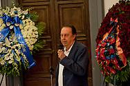 Roma 6 Agosto 2012.Il funerale di Renato Nicolini ex Assessore alla Cultura del comune di Roma nel periodo 1976 - 1985 e inventore dell'Estate Romana, nella sala della  Promototeca  in Campidoglio..Il ricordo di Maurizio Scaparro