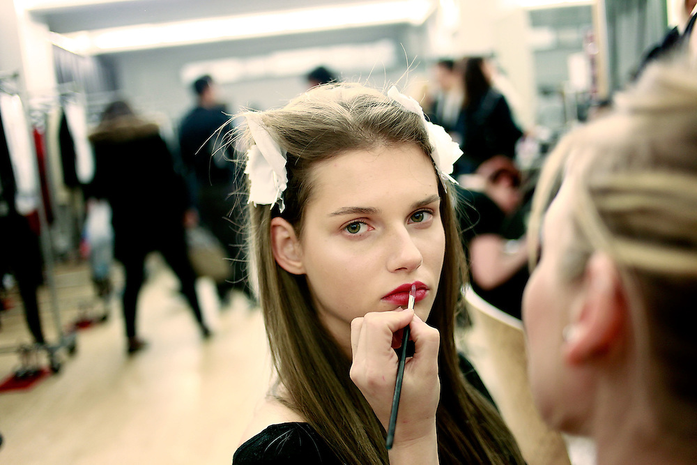 NEW YORK - FEBRUARY 14:  A model getting ready for Ruffian Fall 2009 during Mercedes-Benz Fashion Week on February 14, 2009 in New York City.  (Photo by Joe Kohen/WireImage)