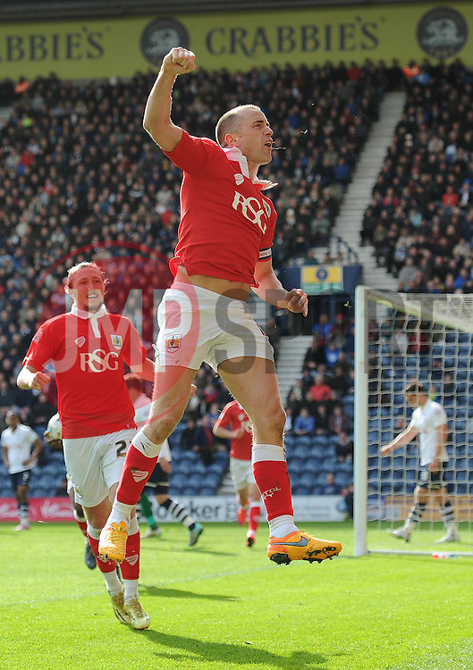 Bristol City's Aaron Wilbraham celebrates his goal. - Photo mandatory by-line: Dougie Allward/JMP - Mobile: 07966 386802 - 11/04/2015 - SPORT - Football - Preston - Deepdale - Preston North End v Bristol City - Sky Bet League One
