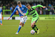 Forest Green's Elliott Frear battles with Eastleigh's Joe Partington during the Vanarama National League match between Forest Green Rovers and Eastleigh at the New Lawn, Forest Green, United Kingdom on 20 February 2016. Photo by Shane Healey.