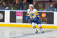 KELOWNA, BC - DECEMBER 01:  Kyle Crnkovic #16 of the Saskatoon Blades warms up against the Kelowna Rockets at Prospera Place on December 1, 2018 in Kelowna, Canada. (Photo by Marissa Baecker/Getty Images)