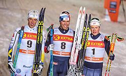 26.11.2016, Nordic Arena, Ruka, FIN, FIS Weltcup Langlauf, Nordic Opening, Kuusamo, Herren, im Bild Calle Halfvarsson (SWE, 2. Platz), Sieger Paal Golberg (NOR), Johannes Hoesflot Klaebo (NOR, 3. Platz) // 2nd placed Calle Halfvarsson of Sweden, Winner Paal Golberg of Norway and 3rd placed Johannes Hoesflot Klaebo of Norway during the Mens FIS Cross Country World Cup of the Nordic Opening at the Nordic Arena in Ruka, Finland on 2016/11/26. EXPA Pictures © 2016, PhotoCredit: EXPA/ JFK