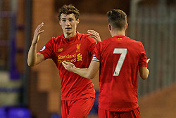 BIRKENHEAD, ENGLAND - Wednesday, September 28, 2016: Liverpool's Matthew Virtue and captain Harry Wilson react after missing a chance against Wolfsburg during the Premier League International Cup match at Prenton Park. (Pic by David Rawcliffe/Propaganda)