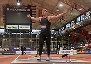 Feb 9, 2019; New York, NY, USA; Ryan Crouser celebrates after winning the  shot put in a meet-record 73-3 1/2 for the longest throw in the world in 11 years and No. 4 ever during the 112th Millrose Games at The Armory.