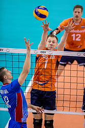 28-05-2017 NED: 2018 FIVB Volleyball World Championship qualification day 5, Apeldoorn<br /> Nederland - Slowakije / Matej Patak #12, Daan van Haarlem #1