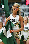 SHOT 1/28/12 2:50:35 PM - A Colorado State University cheerleader performs during a break in the action against San Diego State during the team's regular season Mountain West conference game at Moby Arena in Fort Collins, Co. Colorado State upset 12th ranked San Diego State 77-60. (Photo by Marc Piscotty / © 2012)