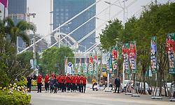 NANNING, CHINA - Wednesday, March 21, 2018: Wales players during a team walk near the Wanda Realm Resort ahead of the 2018 Gree China Cup International Football Championship. (Pic by David Rawcliffe/Propaganda)