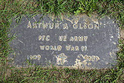 31 August 2017:   Veterans graves in Park Hill Cemetery in eastern McLean County.<br /> <br /> Arthur A Olson  Private First Class  US Army  World War II  1909  1983