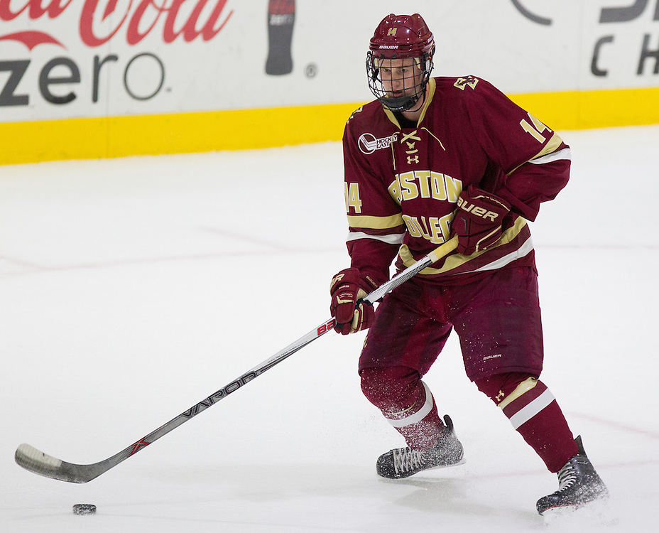 Boston College Forward Adam Gilmour (14) during the first period of a NCAA hockey game between Army and Boston College at Tate Rink on October 9, 2015 in West Point, New York. (Dustin Satloff)