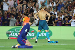 August 13, 2017 - Barcelona, Spain - Cristiano Ronaldo of Real Madrid celebrates after scoring his side's second goal during the Spanish Super Cup football match between FC Barcelona and Real Madrid on August 13, 2017 at Camp Nou stadium in Barcelona, Spain. (Credit Image: © Manuel Blondeau via ZUMA Wire)