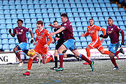 Shrewsbury Town midfielder Jon Nolan (20) on the ball  during the EFL Sky Bet League 1 match between Scunthorpe United and Shrewsbury Town at Glanford Park, Scunthorpe, England on 17 March 2018. Picture by Mick Atkins.