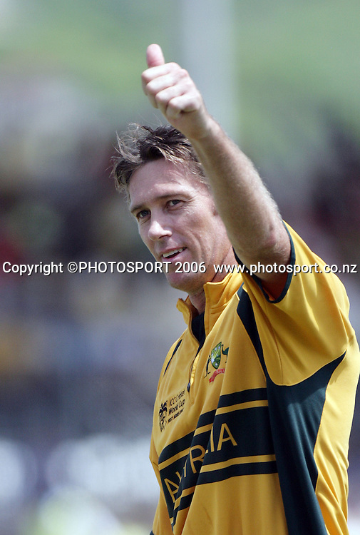 Australian bowler Glenn McGrath thanks the fans after another wicket during the ICC Cricket World Cup Semi Final 2 match between Australia and South Africa at Beausejour Cricket Ground in St Lucia,  West Indies on Wednesday 25 April 2007. South Africa won the toss and elected to bat first and were dismissed in the 44th over for 149. Photo: Andrew Cornaga/PHOTOSPORT<br /><br /><br />250407