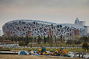 Construction at Olympics site, The Beijing National Stadium, The Bird's Nest, China