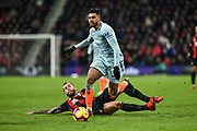 AFC Bournemouth Defender, Steve Cook (3) tries to tackle Chelsea Defender, Emerson (33) during the Premier League match between Bournemouth and Chelsea at the Vitality Stadium, Bournemouth, England on 30 January 2019.