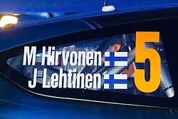 14.01.2014, Rallye Servicepark, Monte Carlo, FRA, FIA, WRC, Rallye Monte Carlo, Shakedown, im Bild Schriftzug von HIRVONEN Mikko / LEHTINEN Jarmo ( M Sport Ltd (GBR) / Ford Fiesta RS ) auf dem Auto // during the Shakedown of FIA Rallye Monte Carlo held near Monte Carlo, France on 2014/01/14. EXPA Pictures © 2014, PhotoCredit: EXPA/ Eibner-Pressefoto/ Neis<br /> <br /> *****ATTENTION - OUT of GER*****
