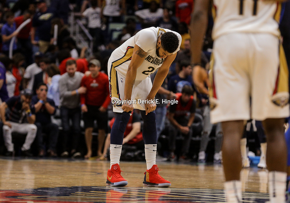 Apr 1, 2018; New Orleans, LA, USA; New Orleans Pelicans forward Anthony Davis (23) reacts after a loss against the Oklahoma City Thunder at the Smoothie King Center. The Thunder defeated the Pelicans 109-104. Mandatory Credit: Derick E. Hingle-USA TODAY Sports