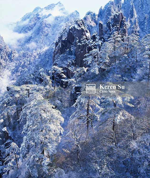 Mt. Huangshan (Yellow Mountain) covered with snow, Anhui Province, China