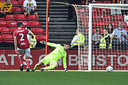 (Another Caption correction) Goal - Frank Fielding (1) of Bristol City is beaten by a Fraizer Campbell (25) of Hull City goal to make the score 4-5 during the EFL Sky Bet Championship match between Bristol City and Hull City at Ashton Gate, Bristol, England on 21 April 2018. Picture by Graham Hunt.