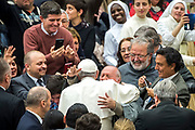 Pope Francis arrives for his weekly general audience at the Paul VI hall on February 07, 2018 at the Vatican.