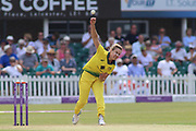 Ellyse Perry of Australia (8) bowling during the Royal London Women's One Day International match between England Women Cricket and Australia at the Fischer County Ground, Grace Road, Leicester, United Kingdom on 4 July 2019.