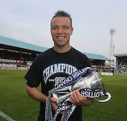 Gavin Rae with the trophy - Dundee v Dumbarton, SPFL Championship, Helicopter Saturday at Dens Park<br /> <br />  - &copy; David Young - www.davidyoungphoto.co.uk - email: davidyoungphoto@gmail.com