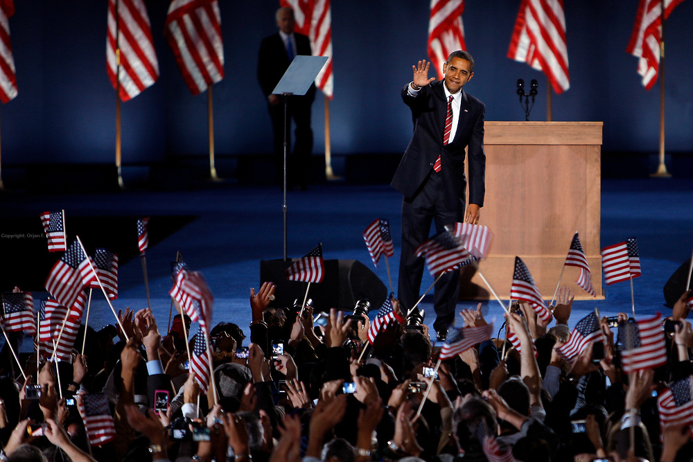 President Elect Barack Obama greets his supporters after holding his acceptance speech on Hutchinson Field in Grant Park in Chicago, having won the election against republican candidate John McCain.