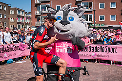 OSS Daniel from Italy of BMC Racing Team (USA) with the mascote near the podium at the start, stage 2 from Arnhem to Nijmegen running 190 km of the 99th Giro d'Italia (UCI WorldTour), The Netherlands, 7 May 2016. Photo by Pim Nijland / PelotonPhotos.com | All photos usage must carry mandatory copyright credit (Peloton Photos | Pim Nijland)