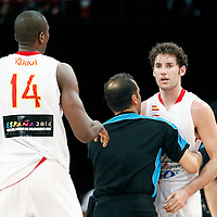 15 July 2012: Rudy Fernandez of Team Spain gets ejected after an argument with Mickael Gelabale during a pre-Olympic exhibition game won 75-70 by Spain over France, at the Palais Omnisports de Paris Bercy, in Paris, France.