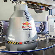 The launch capsule from the Red Bull Stratos project, on display at The Smithsonian National Air and Space Museum in Washington, D.C., USA on 1 April, 2014.