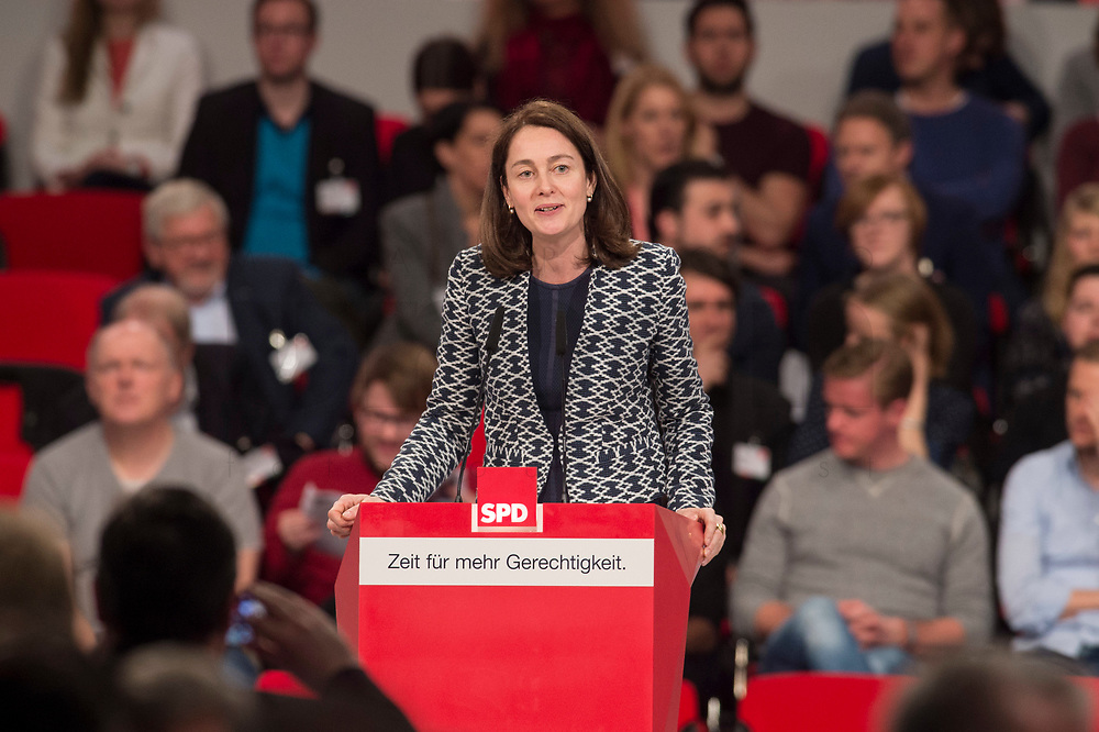 19 MAR 2017, BERLIN/GERMANY:<br /> Katarina Barley, SPD Generalsekretarin, haelt eine Rede, a.o. Bundesparteitag, Arena Berlin<br /> IMAGE: 20170319-01-069<br /> KEYWORDS: party congress, social democratic party, candidate, speech