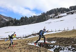 22.03.2018, Pichl-Preunegg bei Schladming, AUT, Red Bull Der lange Weg, Überquerung Alpenhauptkamm, längste Skitour der Welt, im Bild v. l. Philipp Reiter (GER) und David Wallmann (AUT) // during the Red Bull Der lange Weg, crossing of the main ridge of the Alps, longest ski tour of the world, in Pichl-Preunegg near Schladming, Austria on 2018/03/22. EXPA Pictures © 2018, PhotoCredit: EXPA/ Martin Huber