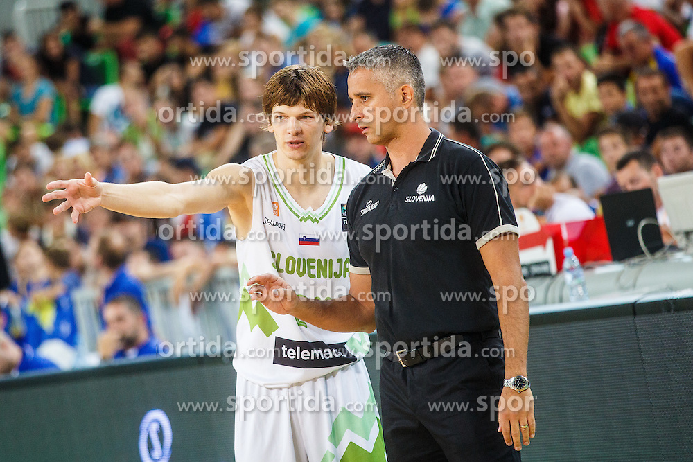 Igor Kokoskov head coach and Jaka Klobucar of Slovenia during qualifying match between Slovenia and Kosovo for European basketball championship 2017,  Arena Stozice, Ljubljana on 31th August, Slovenia. Photo by Grega Valancic / Sportida