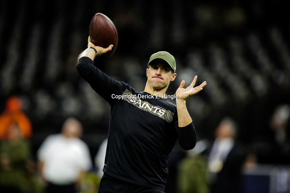 Nov 4, 2018; New Orleans, LA, USA; New Orleans Saints quarterback Drew Brees warms up prior to kickoff against the Los Angeles Rams at the Mercedes-Benz Superdome. Mandatory Credit: Derick E. Hingle-USA TODAY Sports