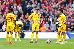 Steven Gerrard of Liverpool looks dejected after Christian Benteke of Aston Villa (not pictured) scores Aston Villa goal to make it 1-1 - Photo mandatory by-line: Rogan Thomson/JMP - 07966 386802 - 19/04/2015 - SPORT - FOOTBALL - London, England - Wembley Stadium - Aston Villa v Liverpool - FA Cup Semi Final.