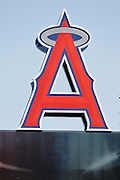 ANAHEIM, CA - JULY 21:  The Big A towers over the field before the Los Angeles Angels of Anaheim of Anaheim game against the Texas Rangers on Saturday, July 21, 2012 at Angel Stadium in Anaheim, California. The Rangers won the game 9-2. (Photo by Paul Spinelli/MLB Photos via Getty Images)