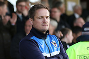 Neal Ardley during the Sky Bet League 2 play-off second leg match between Accrington Stanley and AFC Wimbledon at the Fraser Eagle Stadium, Accrington, England on 18 May 2016. Photo by Pete Burns.