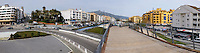 Panorama, San Pedro de Alcantara, near Marbella, Spain, 9th February 2017. The beach is approx 1km away on the right. The A-7 autopista, motorway, passes under the town following the same route as the recently constructed Boulevard which incorporates an elevated boardwalk.<br />